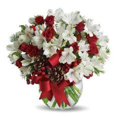 send xmas white alstroemeria in vase to manila