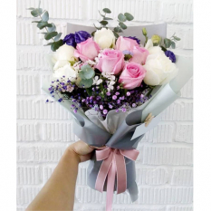 send 12 pcs. pink and white roses bouquet to manila