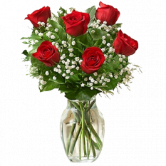 6 pcs valentines red roses in vase to manila