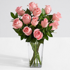 valentines 12 pink roses in vase to manila