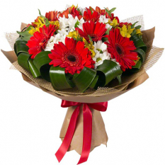 send 12 red gerberas with seasonal blooms to manila