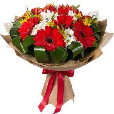 send 12 red gerberas with seasonal blooms to manila