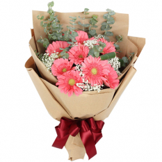send 9 pcs. pink gerberas in a bouquet to manila
