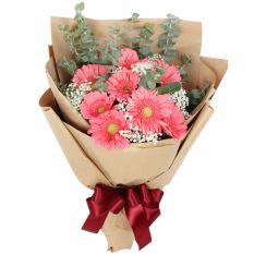 send 12 pcs. pink gerberas in a bouquet to manila