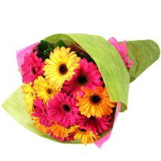 send 12 pcs. mixed color gerberas in bouquet to manila