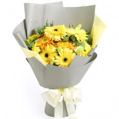 delivery 12 yellow gerberas in a bouquet to manila