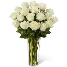 send 18 pcs. white ecuadorian roses in vase to manila