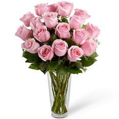 send 18 pcs. pink color ecuadorian roses in vase to manila