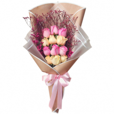 send 12 pink and peach ecuadorian roses bouquet to manila