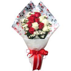 send 11 pcs. red and white ecuadorian roses to manila