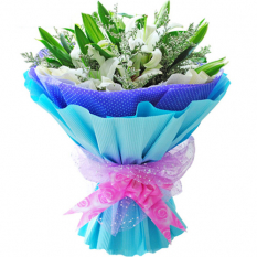 send 3 stems white lilies in a beautiful bouquet to manila