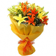 send 3 stem yellow and orange lilies bouquet to manila