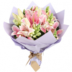 send 3 stems pink lilies in a bouquet to manila