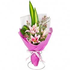send single stem pink lilies in bouquet to manila