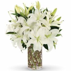 send 3 stem white lilies in vase to manila
