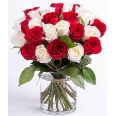 buy stem red and white roses vase to manila