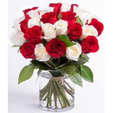 buy stem red and white roses vase to manila