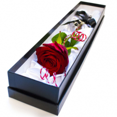 send single red rose in box to manila