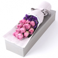 delivery 12 pcs. pink roses in box to manila