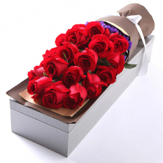 send 16 pcs. red roses in box to manila