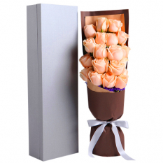 send 16 pcs peach roses in box to manila