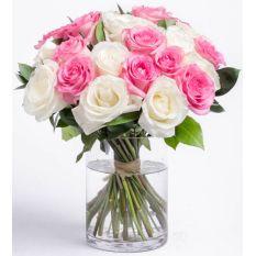stem 24 pink and white roses vase to manila