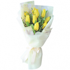 send 9 yellow tulip in bouquet to manila