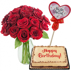 12 Red Roses in Vase w/ Mocha Dedication Cake