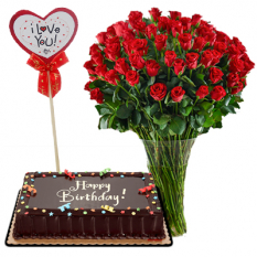 50 Red Roses in Vase w/ Chocolate Cake