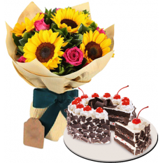 Roses and Sunflowers Bouquet with Black Forest Cake