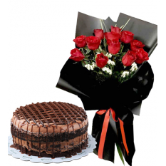 12 Pcs. Red Roses with Contis Cake