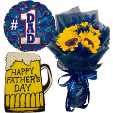 Father's Day 5 Pcs. Sunflowers Roses with Cake and Balloon