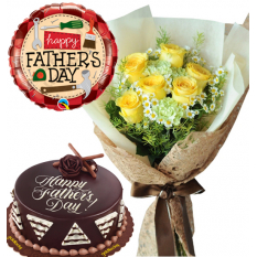 Father's Day 6 Pcs. Roses with Cake and Balloon