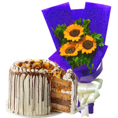3 Pcs. Sunflower Bouquet with Contis Cake