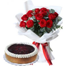 12 Pcs Red Color Roses with Contis Cake