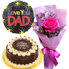 Father's Day Single Pink Roses with Cake and Balloon