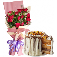 12 Pcs. Red Roses Bouquet with Contis Cake