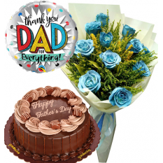 Father's Day 12 Pcs. Blue Roses with Cake and Balloon