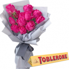 Dozen of Pink Roses with Chocolate Box