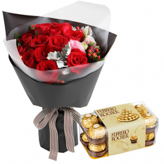 12 Pcs. Roses Bouquet with Ferrero Box