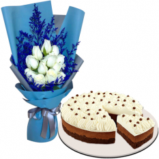 12 White Roses with Chocolate Mousse Cake