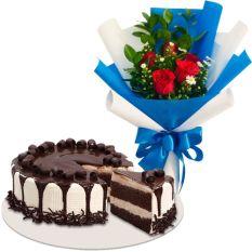 5 Red Roses with Tiramisu Cake by Red Ribbon
