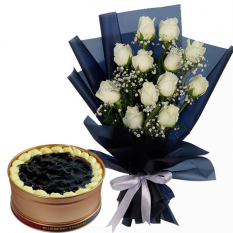 12 White Roses with Blueberry 3 Cheese Can Cake