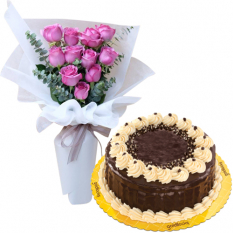 11 Pink Roses with Rocky Road Cake
