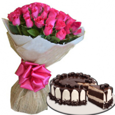 24 Pink Roses w/ Tiramisu Cake by Red Ribbon