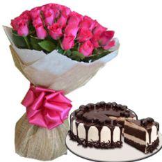 24 Pink Roses w/ Tiramisu Cake by Red Ribbon