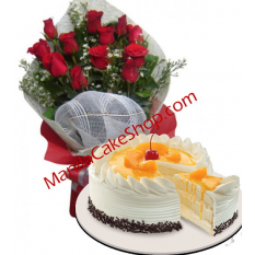12 Red Roses with Mango Cake by Red Ribbon