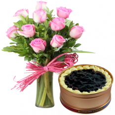 10 Pcs. Pink Roses with Blueberry 3 Cheese Can Cake