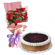 12 Red Roses Bouquet with Blueberry Cheese Cake