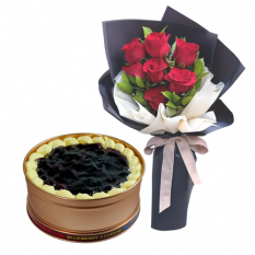 7 Red Roses with Blueberry 3 Cheese Can Cake